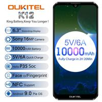 2019 new OUKITEL K12 4G Smartphone Android 9.0 Pie MT6765 Octa core 6GB+64GB 16MP 6.3FHD 10000mAh NFC Mobile Phone