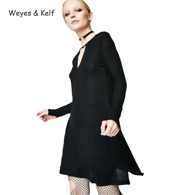 Weyes & Kelf Casual Spring Hollow Out Sexy Mini Dresses Women 2018 Slim Long Sleeve Split Knitted Dress Female Black Robe Femme