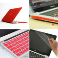 4in1 Red Matte Rubberized Hard Case Cover(11 colors)+Keyboard Cover +Film+Plug For Apple Macbook Air 13 '' inch Free Shipping