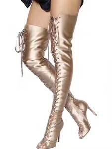 d0bd5ca5e09 Chmaori Women Lace-up Over Knee Thigh High Heel Long Boots
