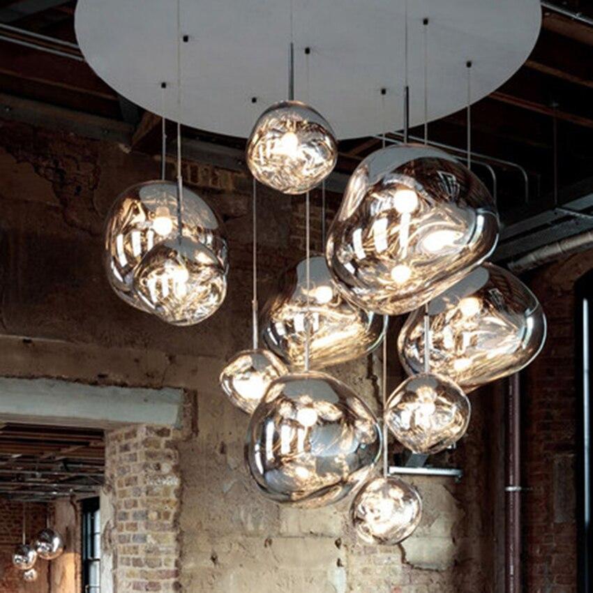 Modern 100% Glass Lights Led Chandelier Tom DIXON Melt Lava Pendant Lamps Living Room Bedroom HangLamps Restaurant Home Lighting