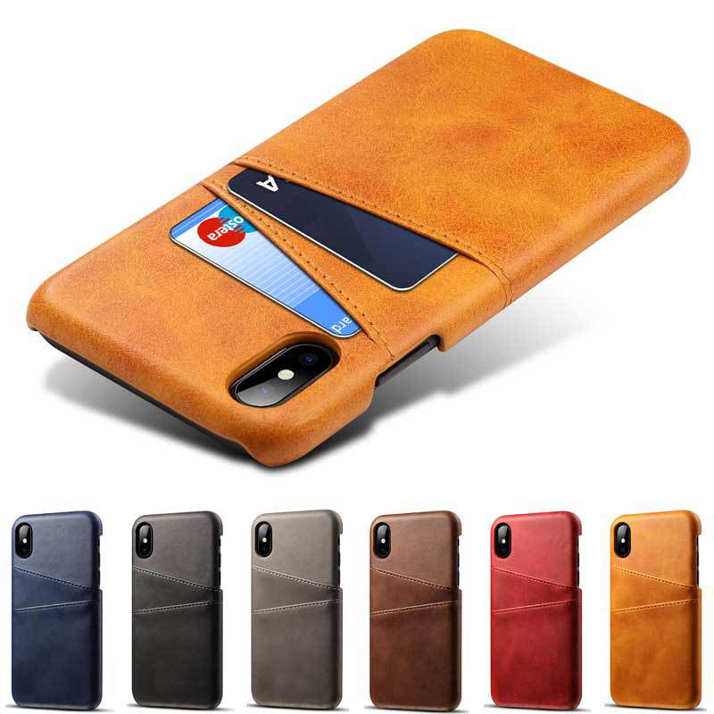 For iPhone X XS Max XR Credit Card Case Vintage PU Leather Wallet Case for iPhone 7 8 6 6S Plus Card Slots Hard Cover Fundas