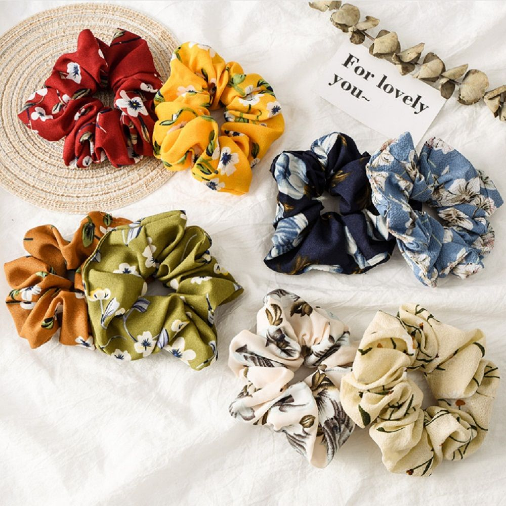 New Spring Flower Hair Scrunchies Ponytail Holder Soft Stretchy Hair Ties Vintage Elastics Hair Bands For Girls Accessories