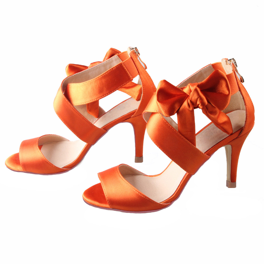 308e209dad Creativesugar crossed strap outside bow sandals burnt orange bridal wedding  dress shoes summer party prom 8cm heels pumps zipper-in High Heels from  Shoes on ...