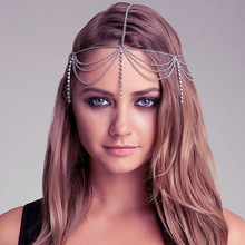 Wholesale Women Silver Gold Color Long Tassel Rhinestone Head Chains Hair Accessories Layered Harness Body Jewelry Headdress
