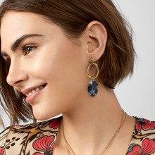 Bohemian Colorful Leopard Acrylic Drop Earring for Women Oval Hollow Round Metal Geometric Dangle Earrings 2019 Fashion Jewelry