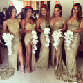 Gold Sequins Bling Bridesmaid Dresses Side Slits Sexy Back Sheath Long Vintage Wedding Maid of Honor Gowns Prom Pageant Formal