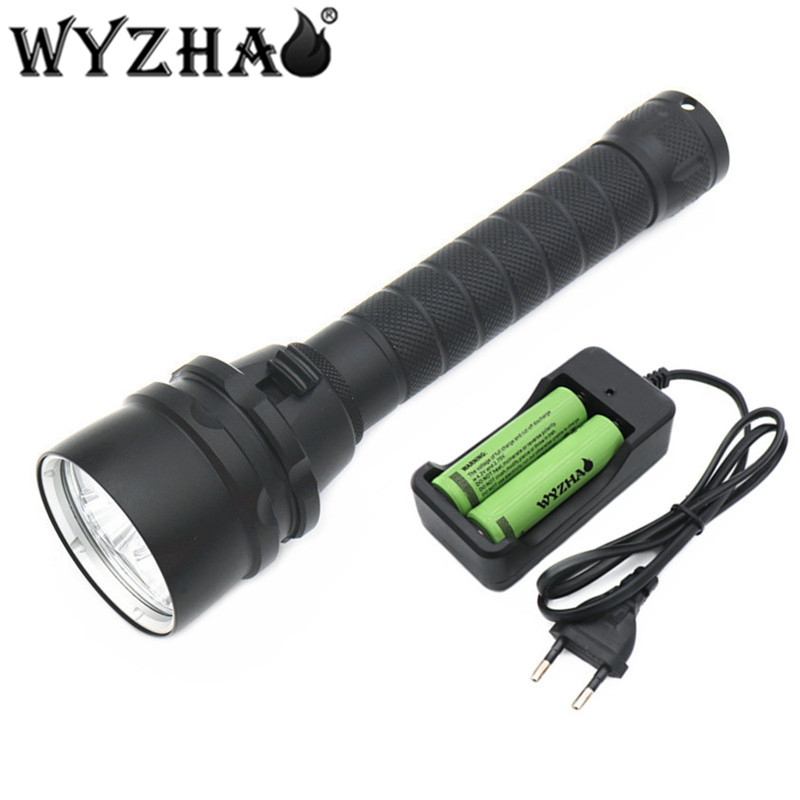 Diving light 5L2 LED Diving flashlight 16000 lumens Waterproof lamp submersible lamp underwater Swimming Torch Diving lights D 0 50m professional diving light 5000 lumens high power diving flashlight 3 led flashlight waterproof diving torch