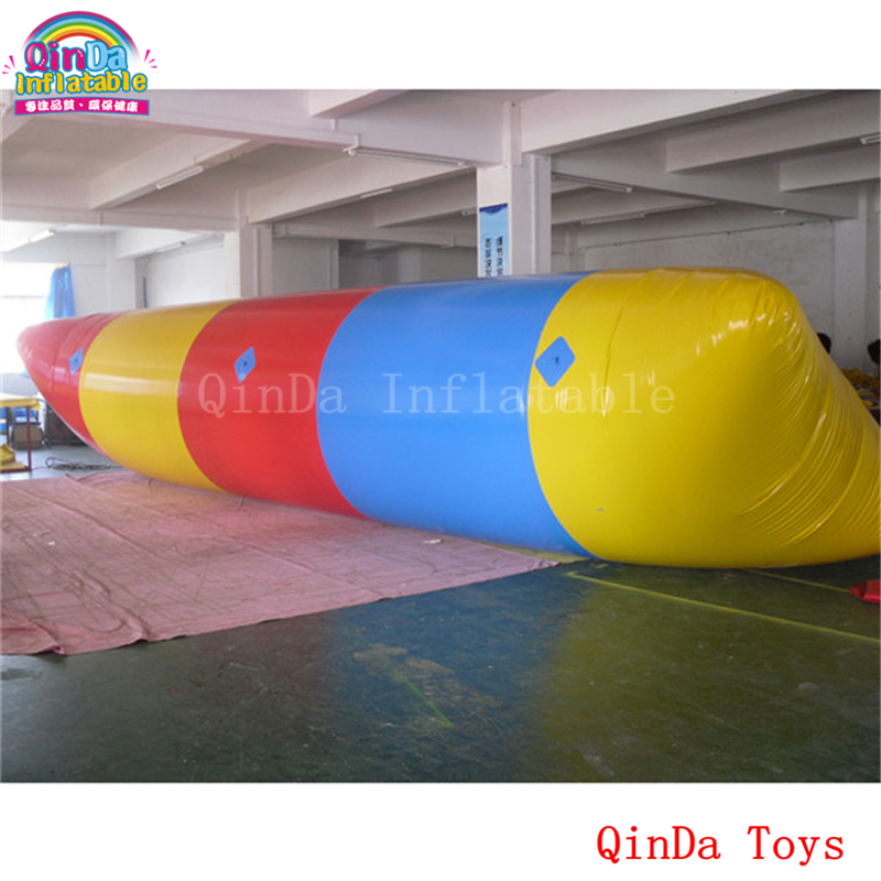 Foldable floating blob inflatable air bag with free pump,0.9mm pvc inflatable water pillow for jumping blob blob big yellow