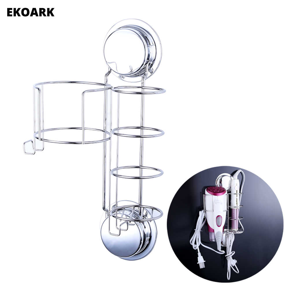 Wall Mount Stainless Steel Hair Dryer and Straightener Holder Shelf Storage with Hooks Suction Cups or Screws For Hotel Bathroom