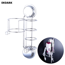 Wall Mount Stainless Steel Hair Dryer and Straightener Holder Shelf Storage with Hooks Suction Cups or Screws For Hotel Bathroom sweet lovers keys storage hooks with memo pad set suction cups 1kg max load