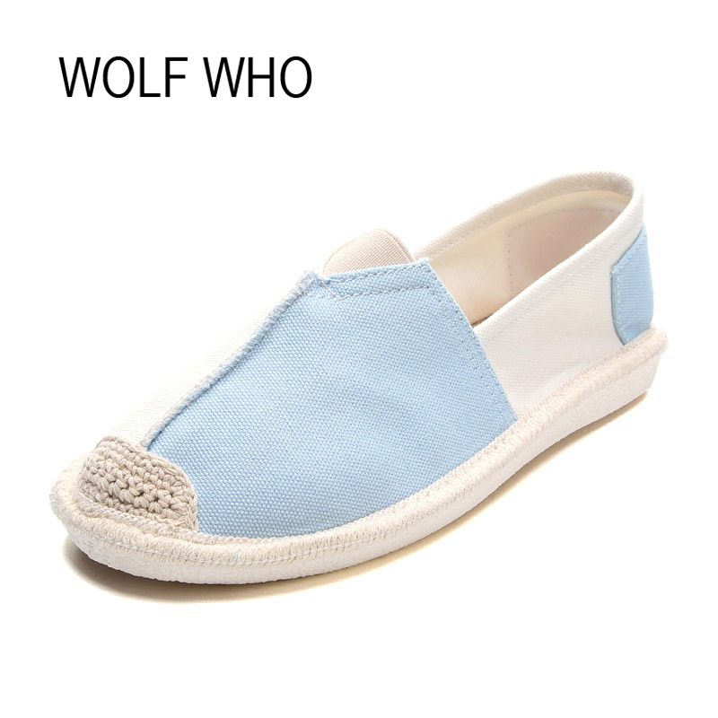 WOLF WHO Summer Canvas Espadrilles Women Moccasins Female Loafers Flats Shoes Ladies Slipony Slip on Krasovki Footwear H-065 women s genuine leather slip on loafers brand designer flats moccasins leisure espadrilles antiskid comfortable shoes for women