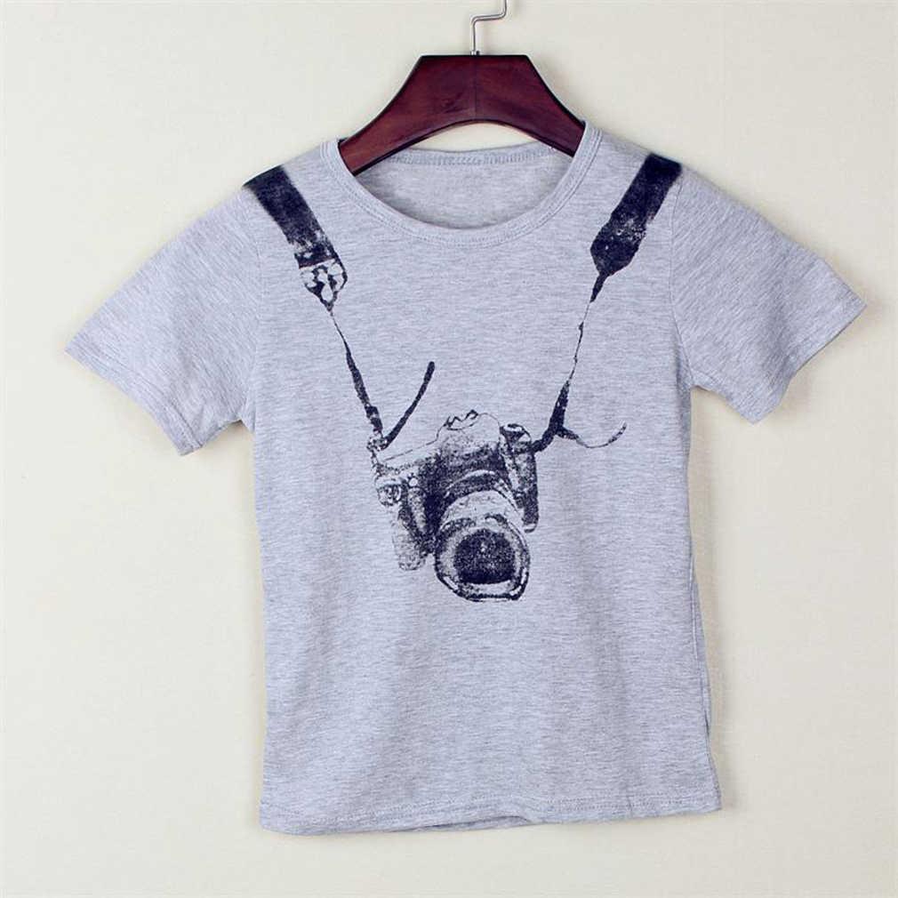 Детская футболка с принтом камеры для мальчиков пуловер с короткими рукавами, рубашка Топы для детей от 2 до 7 лет, хлопковые топы, Детские повседневные серые футболки с круглым вырезом