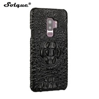 Solque Real Genuine Leather Phone Case For Samsung Galaxy S9 Plus Luxury 3D Crocodile Pattern Retro