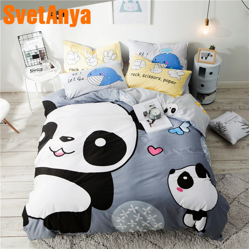 Svetanya Bear Panda Cotton Bed Linens Cartoon Bedding Sets (Pillowcase Flat Or Fitted Sheet Blanket Cover) Double Queen Twin