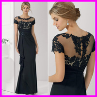 2015 Generous Mermaid Long Evening Dress Mother Of The Bride Dresses Lace Short Sleeve Mother Of The Bride Pant Suits MH 38M