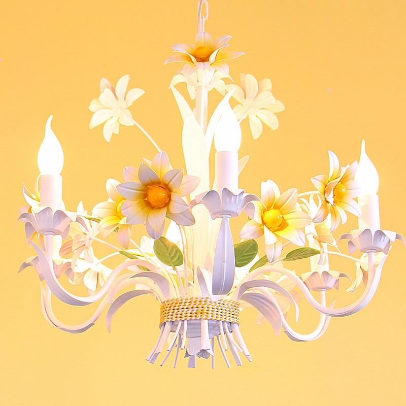 European style living room garden style restaurant candle iron flower romantic children room pendant light