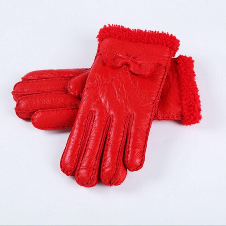 Brand Women Gloves Australia Sheepskin Fur Winter Women 39 s Warm Genuine Leather Gloves Bowtie Ladies Mittens Outside Gloves in Women 39 s Gloves from Apparel Accessories