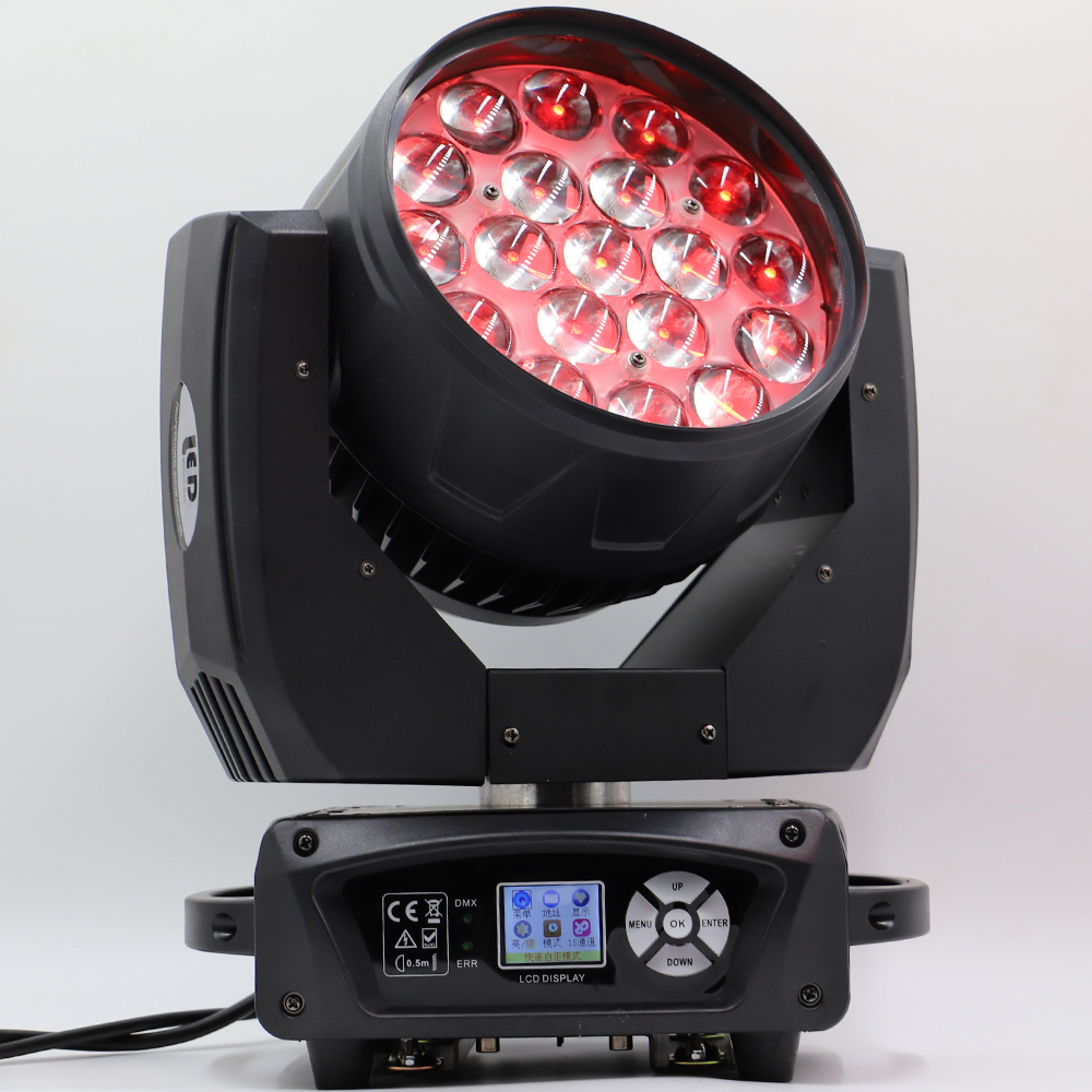 2pcs/lot Led 19x15w Wash Zoom Moving Head Light High Class Moving Head Light