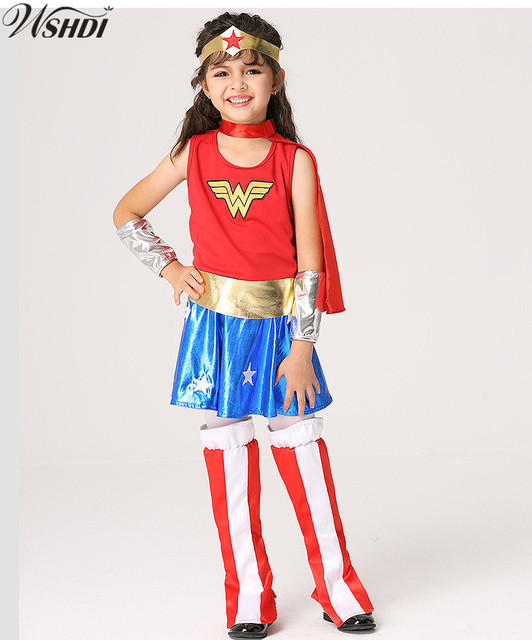 S-XL New Kid Wonder Woman Costume Superhero Supergirl Children Halloween Party Cosplay Costumes Gift  sc 1 st  AliExpress.com & S XL New Kid Wonder Woman Costume Superhero Supergirl Children ...