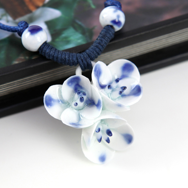 Ethnic Jewelry Handmade Ornaments Weave Wax Rope Ribbon Silver Plated Necklace Choker Original Manual Ceramics Flower
