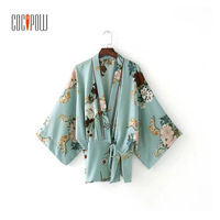 Vintage Bow Tie Waist Flower Print Kimono Shirt 2017 Woman Long Sleeve Cross V Neck Batwing