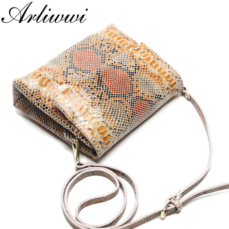 Arliwwi Brand Luxury GENUINE LEATHER Shiny Serpentine Gold silver Rainbow Colors Crossbody Real Soft Cow Leather Handbags
