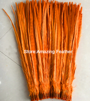 Free shipping 200pcs Orange Pheasant Tail Feathers 50-55 cm/20-22 inches pheasant feathers centerpieces wedding decorations