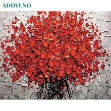 SDOYUNO – cadre à fleurs rouges par numéros, peinture sur toile acrylique, Art mural moderne, image peinte à la main