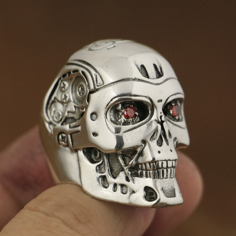 Takı ve Aksesuarları'ten Halkalar'de El yapımı 925 Ayar Gümüş Kırmızı CZ Gözler Terminator Erkek Biker Robot Halka TA80A'da  Grup 1