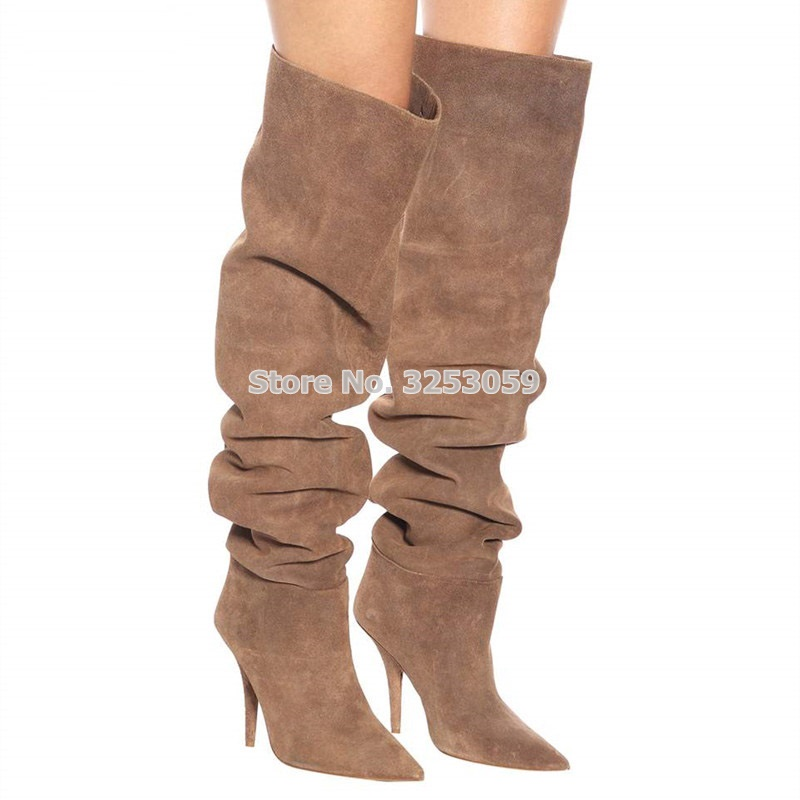 ALMUDENA Women Boots Fall Winter Beige Suede Pleated Loose Over The Knee Boots Pointed Toe Stiletto Heels Thigh Boots Dress ShoeALMUDENA Women Boots Fall Winter Beige Suede Pleated Loose Over The Knee Boots Pointed Toe Stiletto Heels Thigh Boots Dress Shoe
