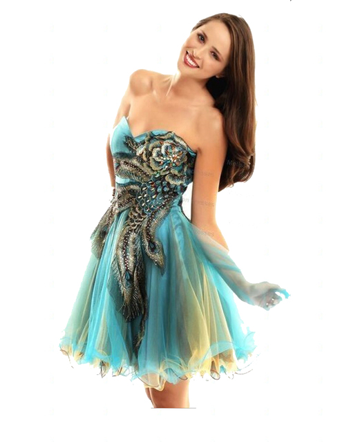 4520563d59 hot sale strapless short min colorful sequin tulle skirt peacock feather  applique homecoming dress 2015