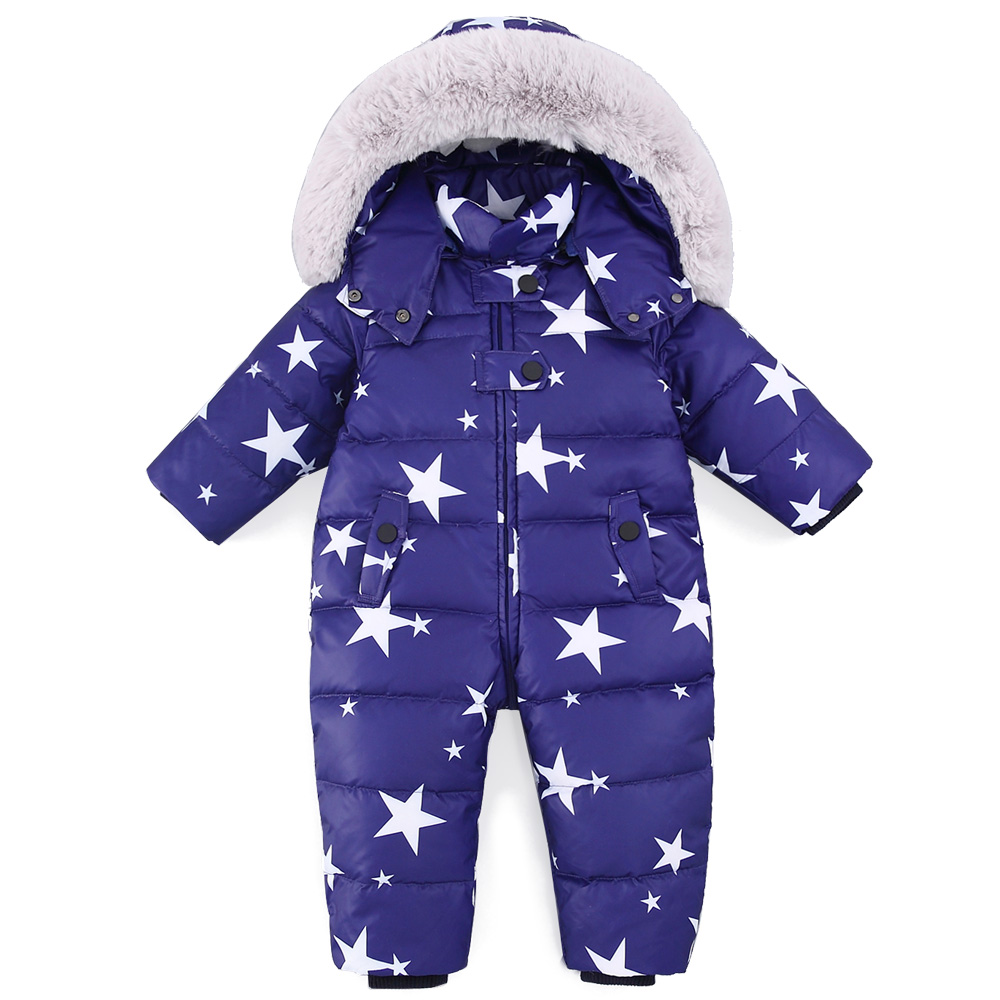 все цены на 2018 Baby Jumpsuits Boys Girls Winter Overalls Baby Rompers Duck Down Jumpsuit Hooded Children Outerwear Kids Snowsuit Clothing онлайн