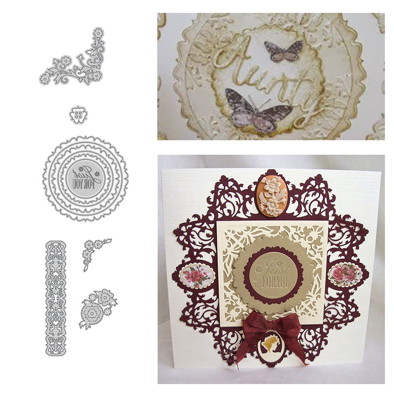 Julyarts Lace Border Flower Circle Frame Metal Cutting Dies New for Scrapbooking DIY Embossing Paper Craft Stencil Die