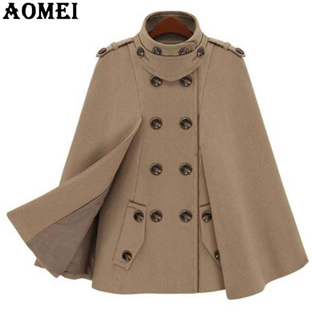 Модное шерстяное пальто верблюжьего цвета, плащ для женщин, зимняя рабочая одежда для офиса, женская верхняя одежда с двумя пуговицами, новинка, весеннее пальто, накидка - Цвет: Camel