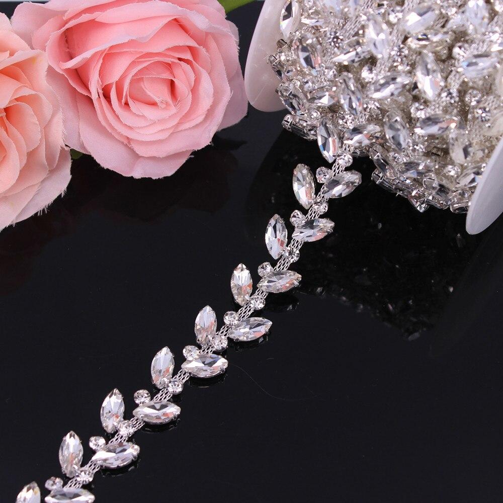 2.1CM Width Silver Crystal Wedding Dress Belt Bridal Chain Trim Horse-Eye Shape Rhinestone Trim Sew On Garments DIY Clothes