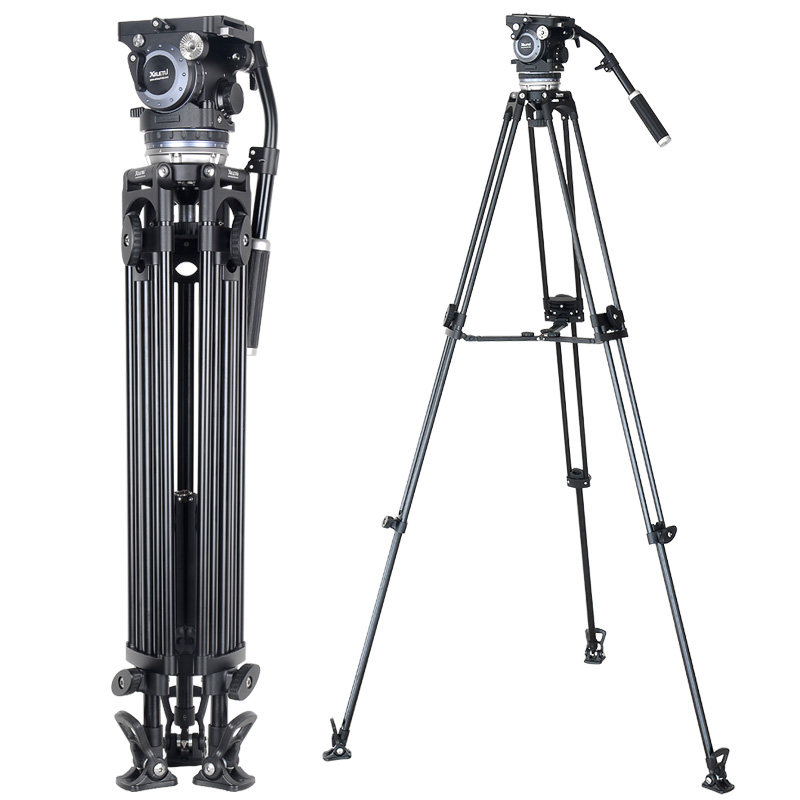 XILETU XMV-30 Aluminium Tripod for Professional Camcorder/Video Camera/DSLR Tripod Stand,with Hydraulic Ball Head lvg nb 535 aluminium professional tripod ball head black