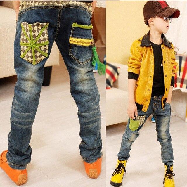 Дети джинсы 2016 осень новый Детская одежда мальчик прилив модели градиент цвета дикие случайные джинсы