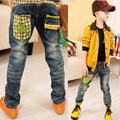 Kids jeans 2016 autumn new Children clothing boy tide models gradient color wild casual jeans