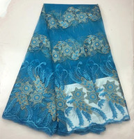 Teal Color Nigerian Lace Fabrics For Wedding 2017 African Lace Fabric New Arrival Stones Lace Fabric For party Dress 506