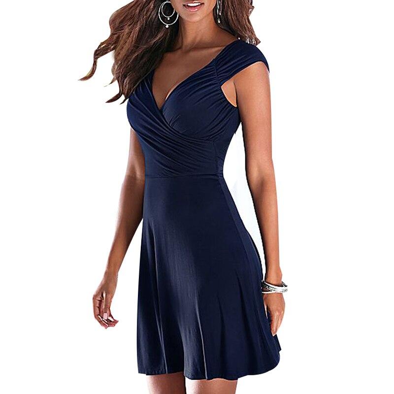 Femme Simple Extensible Bobine Ressort Sans Manche Grec Robe Courte