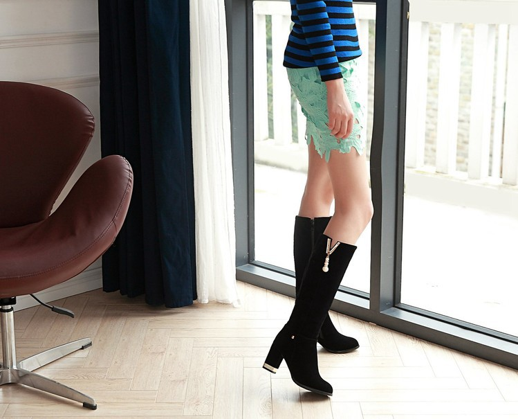 New Beaded Womens Large Size 40 High-heeled Suede Black Knee High Boots Autumn And Winter 7cm6