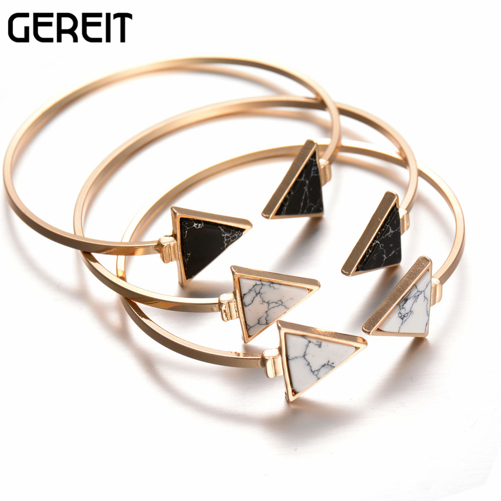 2017 New Brand White Black Faux Marble Stone Triangle Geometric Bangle Gold  Circle Cuff Bangle Bracelet For Women Bijoux Jb15090