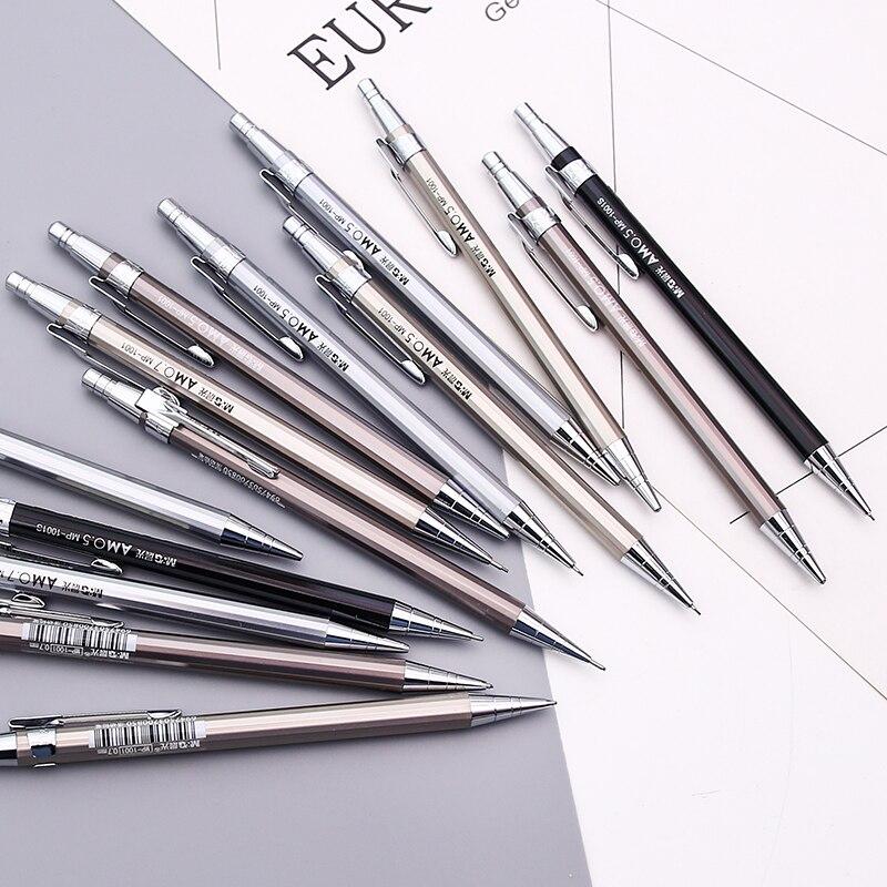 Metal Material Mechanical Pencils 0.5 0.7mm Metallic Pen With 1 Set(20pcs) Leads