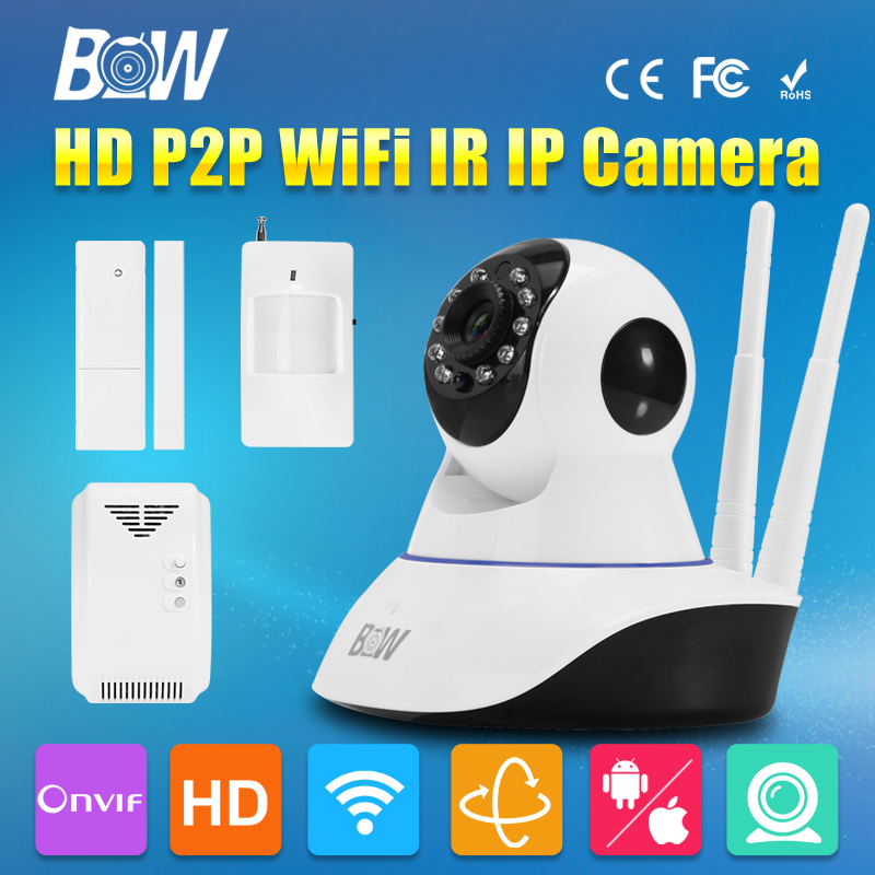 BW Surveillance CCTV IP Camera WiFi Infrared IR Security Camera 720P HD Wireless Network GSM Burglar Automatic Sensor Alarm bw p2p cctv ip camera wifi wireless hd 720p onvif rotatable surveillance security camera cctv automatic sensor detector alarm