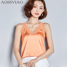 2019 Hot Sale Lovely Women Blusa Silk Lace Sleeveless White Blouse Casual Tank Tops Sexy Summer Style Tees For Women Shirts