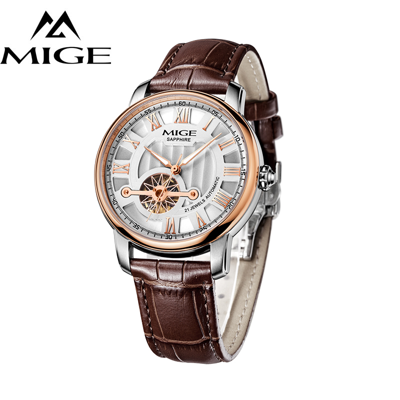 MIGE New Arrival Watches Men Top Brand Luxury Hollow Automatic Mechanical Wristwatches Genuine Leather Strap Relogio Masculino 2016 new gold watches winner luxury brand men s fashion automatic hollow out man mechanical watches waches relogio masculino