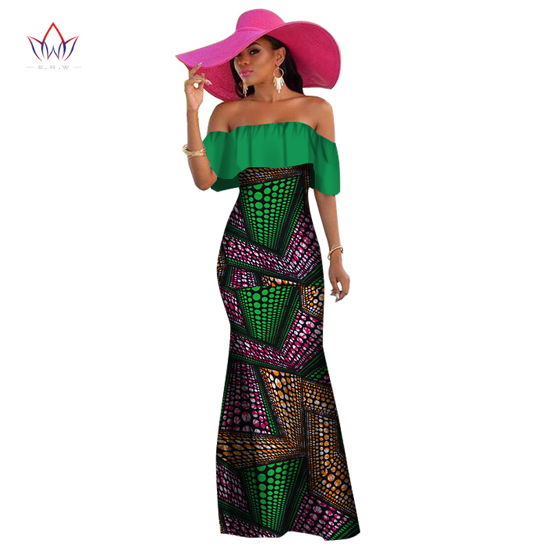 12419a19a7ccd 2018 African Wax Print Dashiki Dresses for Women Ruffles Bazin Riche Dress  Plus Size African Women Clothing Vestidos WY1345