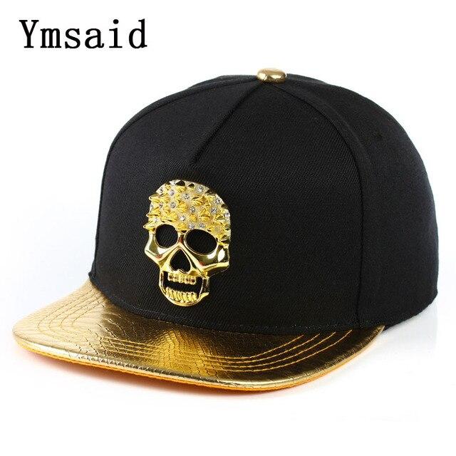 757f5301881 2019 New High Quality Casual leather Skull Design Metal Logo Pattern Baseball  Cap Hip Hop Snapback