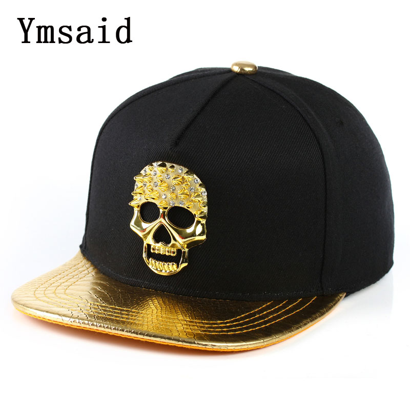2019 New High Quality Casual leather Skull Design Metal Logo Pattern   Baseball     Cap   Hip Hop Snapback   Caps   Hat Bone For Men Wo